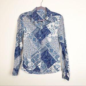 J. McLaughlin Blue Floral Print Blouse